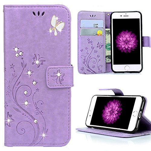 iPhone 7 Plus Floral Wallet Glitter Case, Miniko(TM) 3D Handmade Bling Crystal Diamonds Butterfly Fashion Floral PU Leather with Hand Strap Magnetic C…