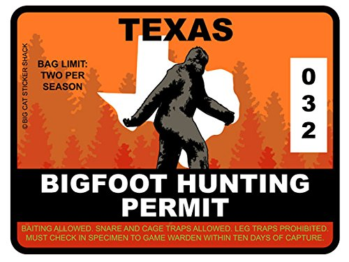 Bigfoot Hunting Permit - TEXAS (Bumper Sticker)
