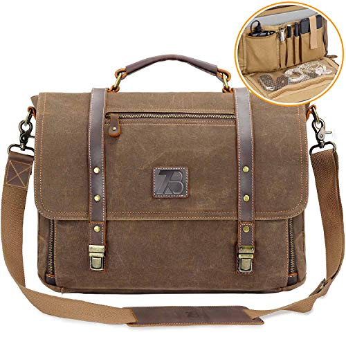 Men's Messenger Bag Vintage Genuine Leather Briefcase Shoulder Bag 15.6 Inch Waxed Canvas Leather Computer Laptop Bag Waterproof Business Satchel Bag Brown Cotton Leather Shoulder Bag