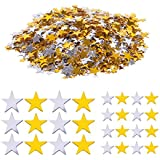Haley Party Gold and Silver Star Confetti Shiny Star Confetti for Crafts DIY Nail Art Birthday Wedding Party Decoration Confetti Poppers (0.2in/0.6cm & 0.4in/1cm, Silver & Gold Mix, 1oz)