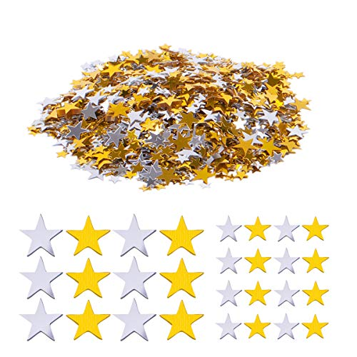 Haley Party Gold and Silver Star Confetti Shiny Star Confetti for Crafts DIY Nail Art Birthday Wedding Party Decoration Confetti Poppers (0.2in/0.6cm & 0.4in/1cm, Silver & Gold Mix, 1oz) ()
