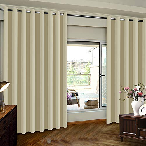 Panel 84l (Insulated Blackout Patio Door Slider Curtains, Extra Wide Thermal Vertical Blind Window Treatment Drapes for Hotel/Sliding Door, 100W by 84L Inches-Beige, One Panel)