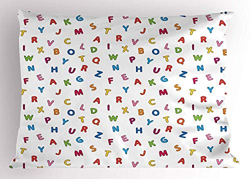 K0k2t0 ABC Kids Pillow Sham, Playroom Style Cute Alphabet Fonts in Various Tones on White Background Study, Decorative Standard Queen Size Printed Pillowcase, 30 X 20 inches, Multicolor