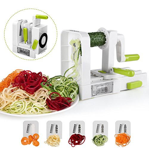 Spiralizer 5-Blade Vegetable Spiralizer Sedhoom Foldable Spiral Slicer Zucchini Noodle & Veggie Pasta & Spaghetti Maker for Low Carb/Paleo/Gluten-Free Meals
