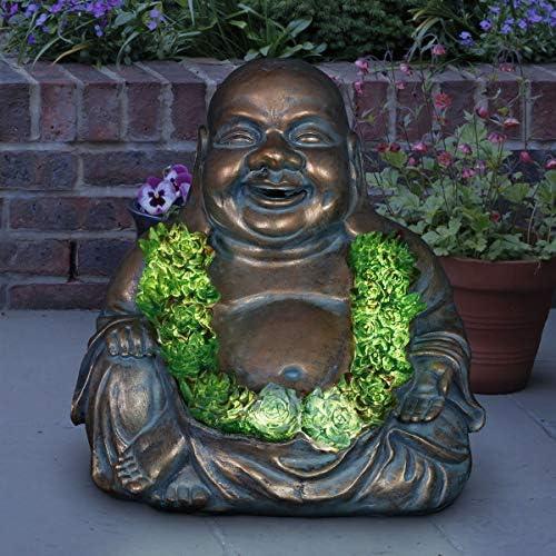 Exhart Solar Buddha Statue w/Beautiful Green LED Succulent