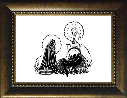 - Trinity Stores Desk Framed Religious Art Print-Bronze - 7x9 St. Jeanne Jugan and Infant Jesus by D. Paulos