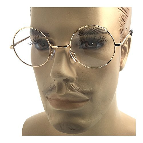 Oversized Big Round Metal Frame Clear Lens Round Circle Eye Glasses Gold - - Glasses Big Eyes For