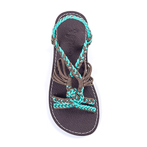Plaka Flat Summer Sandals for Girls by Turquoise Gray 13 Twist by Plaka