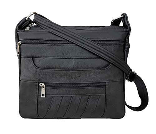 Black Leather Concealed Carry Handbag Roma 7082