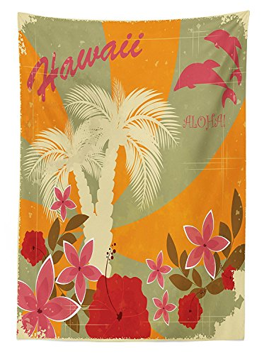 Hawaiian Decorations Tablecloth Aloha Vintage Style Print Colorful Swirl Background Dolphins Palm Trees Flowers Dining Room Kitchen Rectangular Table Cover Red Mustard