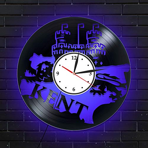 Levescale - Kent Lighted Vinyl Wall Clock Castle - Perfect Forts Gift for Boy, Girl - Decoration for Living Room - Leeds Historical Hever England Palace Citadel Fortress (Blue) (Leeds Christmas Kent Castle)
