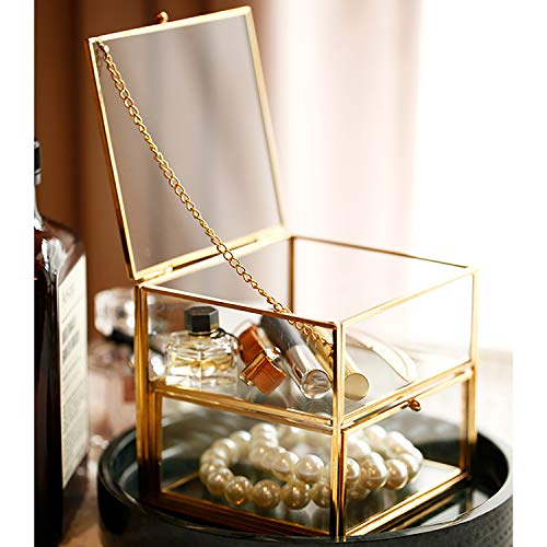 28h Cabin - PUDDING CABIN Vintage Glass Jewelry Box Organizer 2 Drawer Jewelry Tray Bracelets Necklace Watch Rings Storage Display