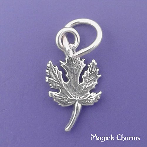 (925 Sterling Silver Maple Leaf Charm Miniature Jewelry Making Supply, Pendant, Charms, Bracelet, DIY Crafting by Wholesale Charms )
