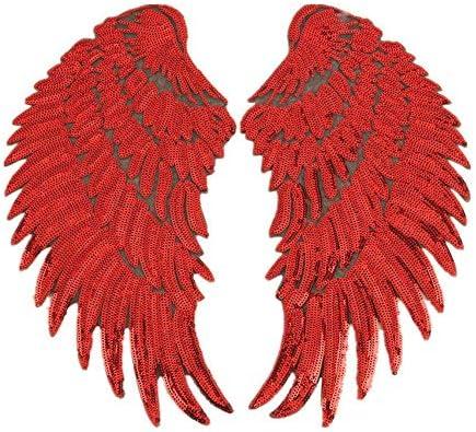 ビーズスパンコール翼パッチ服パッチペースト接着剤ジャケットジーンズバックパック装飾デカールパッチ34.5 * 16センチ