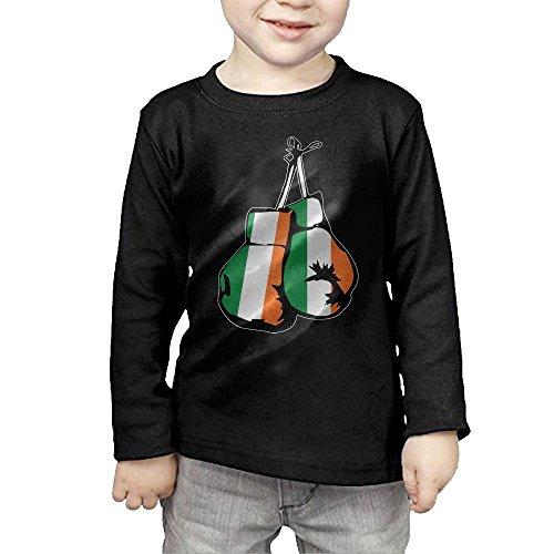 (Ireland Flag Boxing Gloves Kids Children Unisex Long Sleeve Cotton Crew Neck T-Shirt Tee)