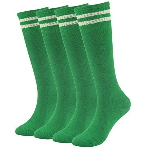 Soccer Socks for Youth,Girls Boys Classic Breathe Freely Stripes Design Athletic Long Tube Kids Sport Socks saillsen 4 Pairs Green