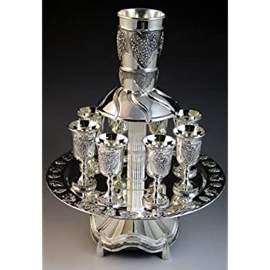 Silver Plated Kiddush Fountain - Grape Design