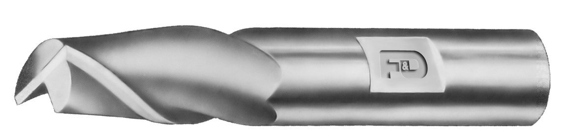 High Speed Steel Single End 1.625 Flute Length 1 Shank Diameter F/&D Tool Company 17476-T360 Two Flute End Mill 4.125 Overall Length 1.5 Mill Diameter