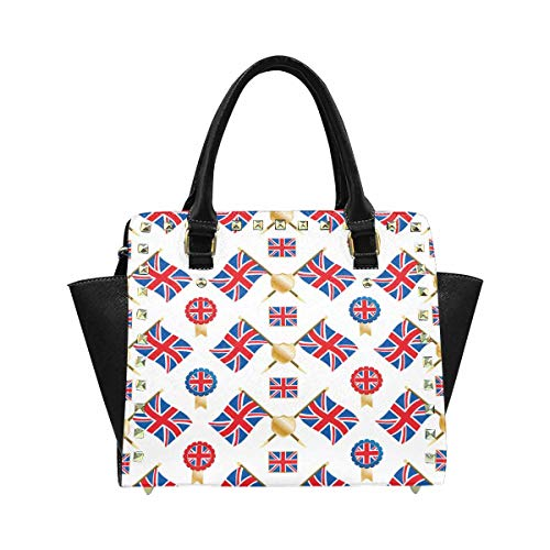 (InterestPrint Union Jack Flags and Emblems with Clipping Path Purses and Handbags Shoulder Bag for Women Ladies Girls )