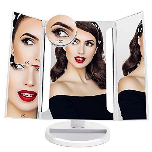 FASCINATE Lighted Makeup Mirror, Tri-fold Vanity Mirror w/ 24 LEDs Lights 2X/3X/10X Magnification Mirror, Touch Screen Dimming, Cord & Cordless, 180°Rotation Light Up Mirror (White) ()