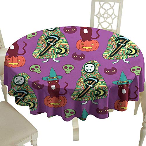 WinfreyDecor Oil-Proof and Leak-Proof Tablecloth Halloween Seamless Pattern with cat Pumpkin Death Reaper on v Indoor Outdoor Camping Picnic D39 for $<!--$17.40-->
