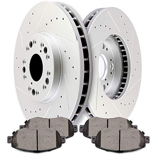 (SCITOO 2pcs Slotted Drilled Brake Discs Rotors and 4pcs Ceramic Disc Brake Pads Brakes Kit fit for 2004 2005 Lexus GS430/IS300,2008 2009 2010 Lexus SC430,2000 Lexus GS400,2001 2002 2003 Lexus GS300)