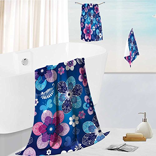 (Printsonne 3-Piece Luxury Hotel/Spa 100% Turkish Cotton Striped Towel Set floral dark blue seamless spring pattern with vintage flowers and butterflies vector eps Hand Towels and Washcloths)