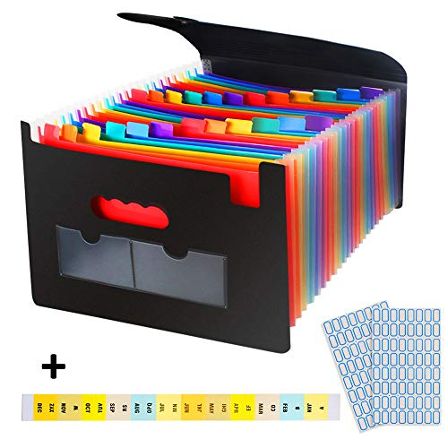 24 Pockets Expanding File Folder with Cover,Rainbow Expanding and Self-Stand Accordion Large Capacity Expanding Wallets,A4 Document Organizer with Elastic Cord Include Tags and Label