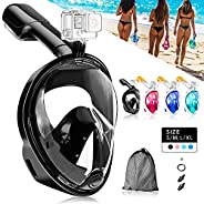 NARUTOO 180°Full Face Snorkel Mask, Diving Mask Free Breathing Design Anti-Fogging and Anti-Leak Technology wi