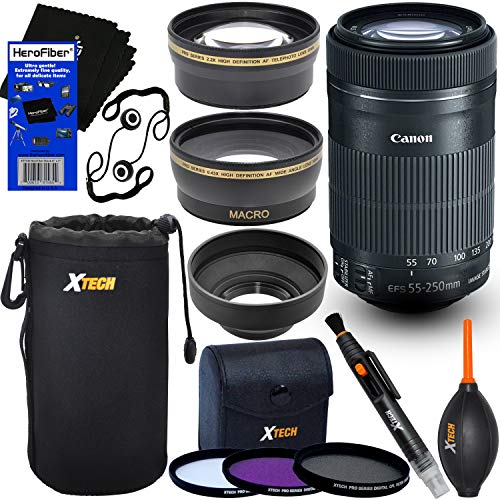 Canon EF-S 55-250mm F4-5.6 is STM Lens for Canon SLR Cameras (International Version) + Telephoto & Wide Angle Lenses + 3pc Filter + 7pc Accessory Kit w/HeroFiber Gentle Cleaning Cloth ()