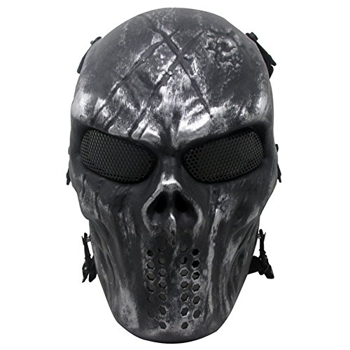Thiroom Full Face Tactical Airsoft Paintball Cosplay Mask with Metal Mesh Eye Protection M06 Iron Mask for Airsoft/BB Gun/CS etc (Iron Paintball Gun)