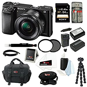 Sony Alpha ILCE-6000L/B a6000 Digital Camera with 16-50mm Lens Bundle with Accessory Kit (Black)