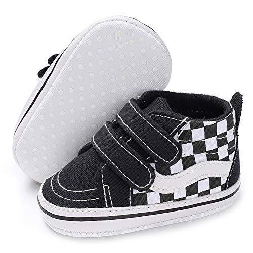 Baby Girls Boys Canvas Sneakers Soft Sole High-Top Ankle Infant First Walkers Crib Shoes (0-6 Months Infant, E/Black)