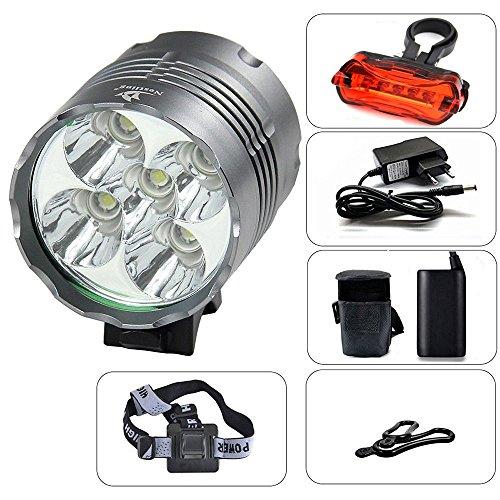 Nestling® 6000LM Scheinwerfer-Licht 5x CREE XM-L T6 LED Lichteinheit 4 x 18650 Akku + Ladegeräte 3 Switch-Modi