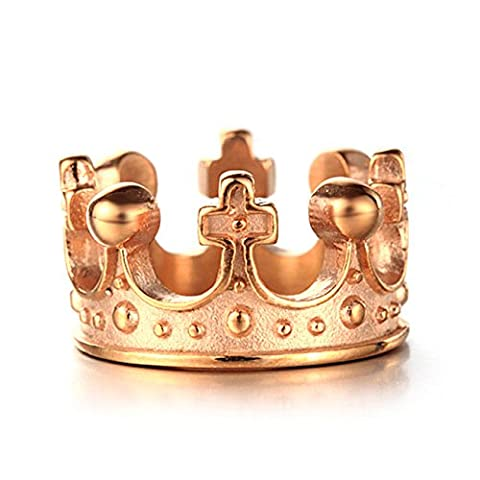LAMUCH Men's Stainless Steel Ring Band King Crown Knight Fleur De Lis Cross,Rose Gold,Size 8 (Religious Gold Crowns)