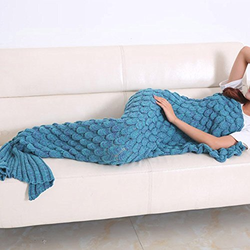 Black Day Mermaid Blanket-Warm Mermaid Tail Blanket Crochet Super Soft Comfortable Suitable for All Seasons Sofa Blankets Gift for Christmas, Halloween, Thanks Giving Day, Valentine\'s (lake blue)