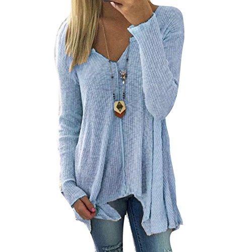 Tops Blu Scollo Manica Camicia Tinta V Moda Unita Casual Donna Inlefen Primavera Lunga Autunno a e Elegante per Shirts Camicetta HqdwqxU8v