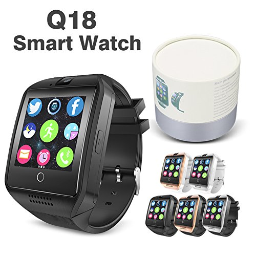 Smart Watch Bluetooth Smart watches Q18 camera built-in BLACK (Silver)