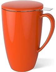Taza Sweese de cerámica/porcelanacon tapa y filtro para té, de acero inoxidable (400ml), porcelana acero inoxidable, Naranja