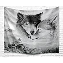 Wild Animal Tapestry Wall Hanging, Wolves Couple Travel from Snow Desert to Deep Forest Determined Firm Faith Nature Scene Home Dorm Bedroom Decorative Wall Tapestry