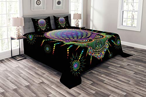 Ambesonne Psychedelic Bedspread, Digital Mexican Sugar Skull Ceremony Halloween Ornate Effects Design, Decorative Quilted 3 Piece Coverlet Set with 2 Pillow Shams, Queen Size, Purple -
