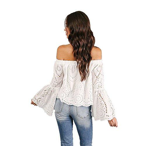 Bluse 1 Camicetta shirt Manica Top Bianca Fuori T Spalla Camicia Pizzo Casuale Maglietta Lunga Dalla Sexy Donna Della gZTqwwF