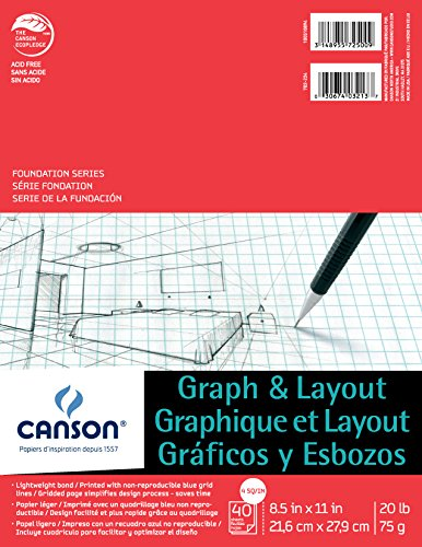 Canson Foundation Series Graph and Layout Paper Pad with Non Reproducible Blue Grid, Fold Over, 20 Pound, 4 by 4 Grid on 8.5 x 11 Inch, 40 Sheets ()