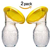 Silicone Breastfeeding Manual Breast Pumps Milk Pump Suction with Lid,Breast Milk Saving Made Easy,Flexible & Lightweight ,Pack of 2
