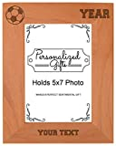 Custom Soccer Gift Add Text Year Personalized Natural Wood Engraved 5x7 Portrait Picture Frame
