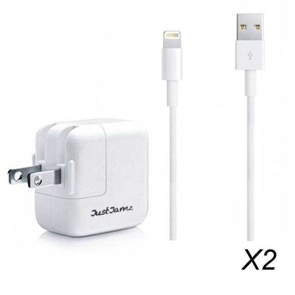JustJamz USB 3 Foot Power Cord Cable with 10W Wall Charger Fits Apple iPad Air iPhone 5, 5C, 5S, 6, 6 Plus, White (2 Pack) Seattle Cell Market