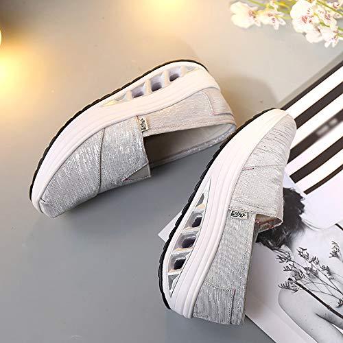 Sneakers À Casual Chaussures Gris Mode Avec Sport Marcher De Gym Bascule Respirantes Baskets Femme Fitness Couleur Running Ningsanjin Unie R54jLA3q