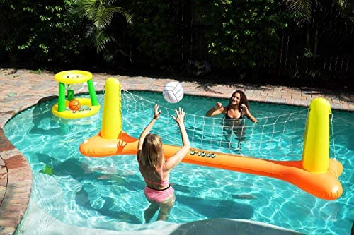 G-Loco Inflatable Pool Volleyball Set & Pool Basketball Hoop; 2 Balls Included, Pool Games for Adults and Family, Volleyball Court (120″x30″x38″), Basketball Hoop (26.4″x21.7″)