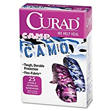 Medline Cur45702z Curad Camo Fabric Adhesive Bandages, Camoflage Pinkblue (box Of 1)