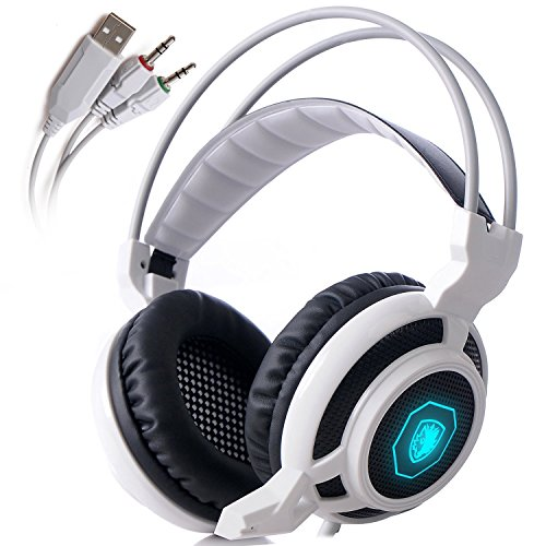 (Sades Arcmage 3.5mm PC Gaming Over Ear Headset (White / Black))